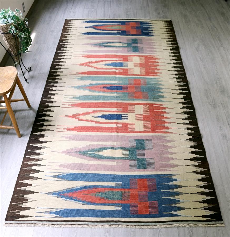 草木染のコンヤキリム(Vintage Stock) ヨルルック290×143cmサフデザインTurkish Kilim Natural dye