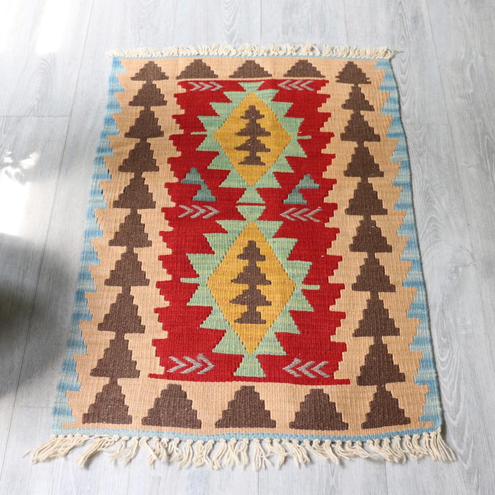 やわらかな織りのカイセリキリム・ヤストゥクサイズ・87×58cmイエロー&ライトグリーン・イーブルアイ