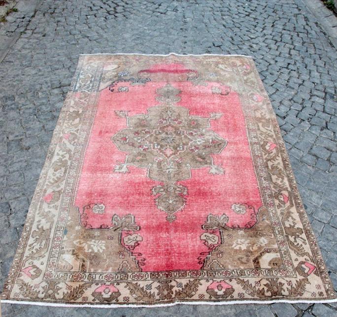 【イスタンブール在庫】トルコ絨毯 オールドカーペット/カリヨラ210×142cmコンヤ/メダリオンデザイン