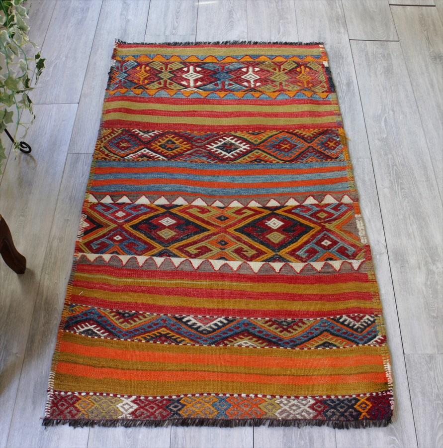 オールドキリム・シワス カラフルなジジム織りとストライプ133×77cmオレンジ・レッド・ブルー