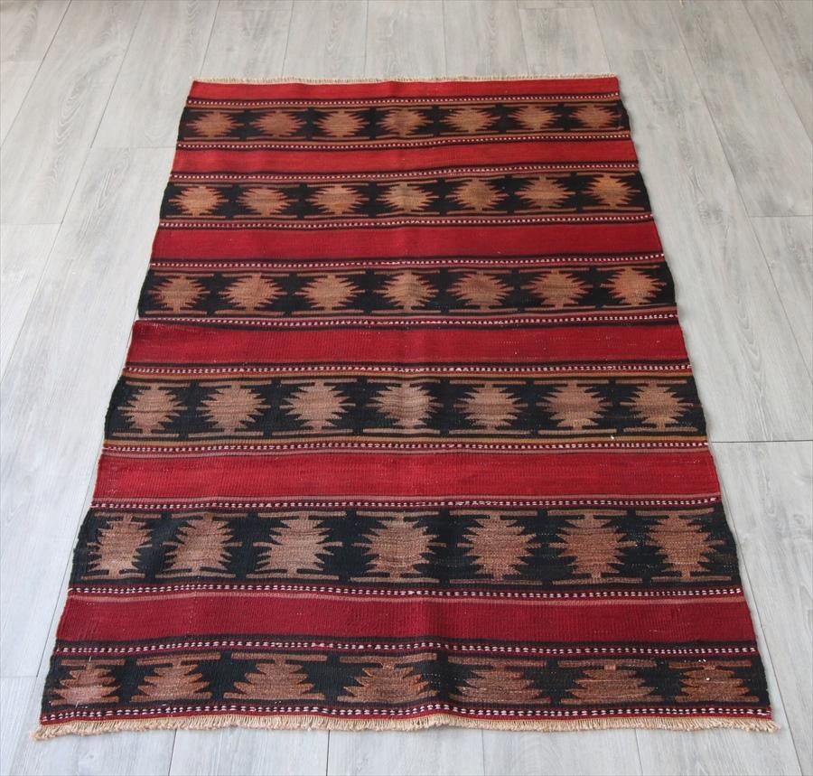 オールドキリム・シワス セッヂャーデサイズ153×93cmレッド&ブラック ユルドゥズ