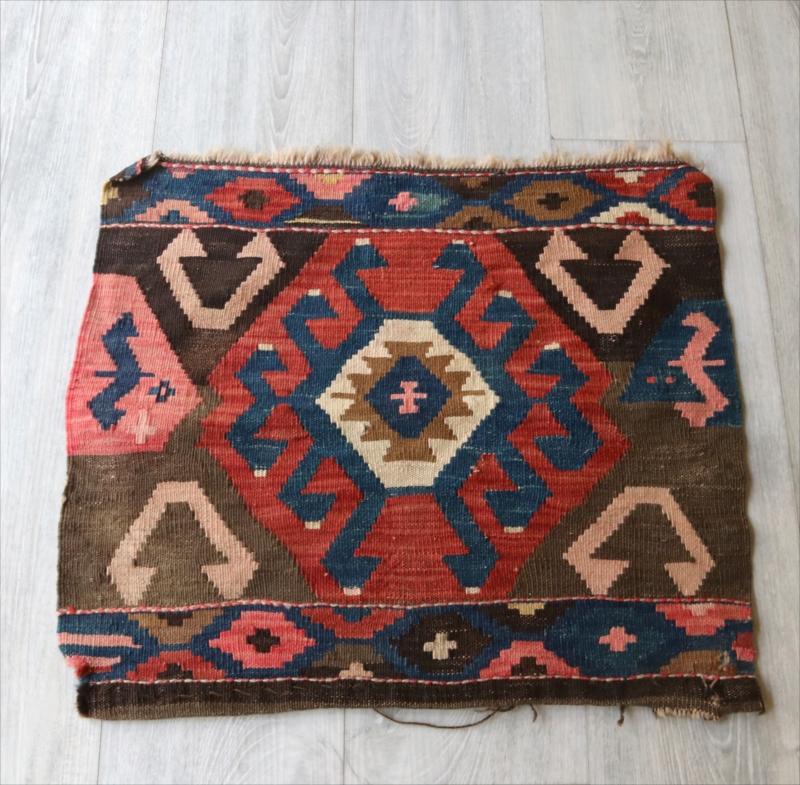 オールドキリム・マフラッシュのフラグメント/アンティーク・コレクションピース49×57cmミニサイズ/Caucasus Handweaven Kilim Antique Collectable OUTLET・難あり品