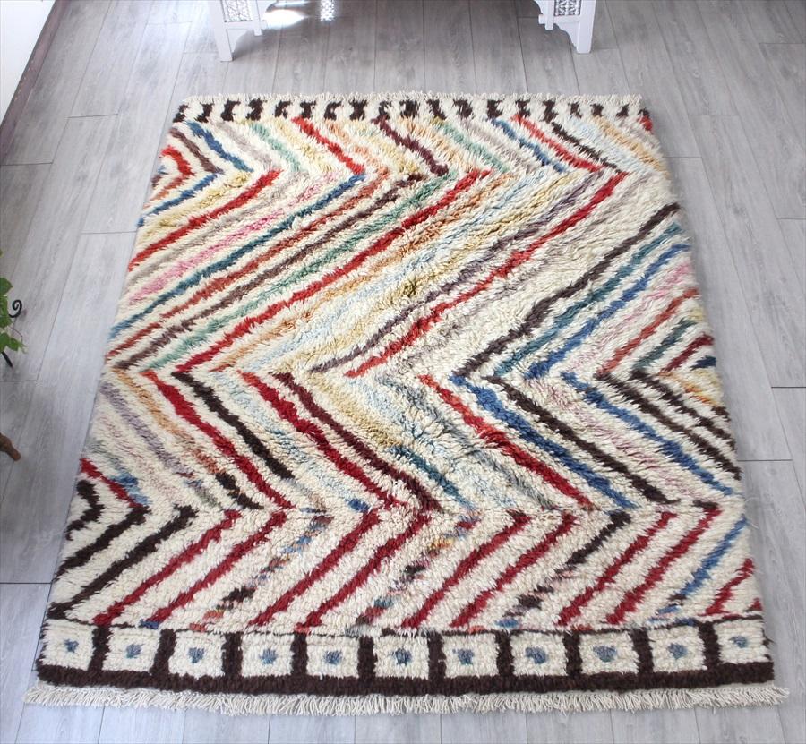 トライバルラグ・部族絨毯/Tulu トゥル トルコ・手織りカーペット213×167cmパイルの長いモロッコラグ風のラグ