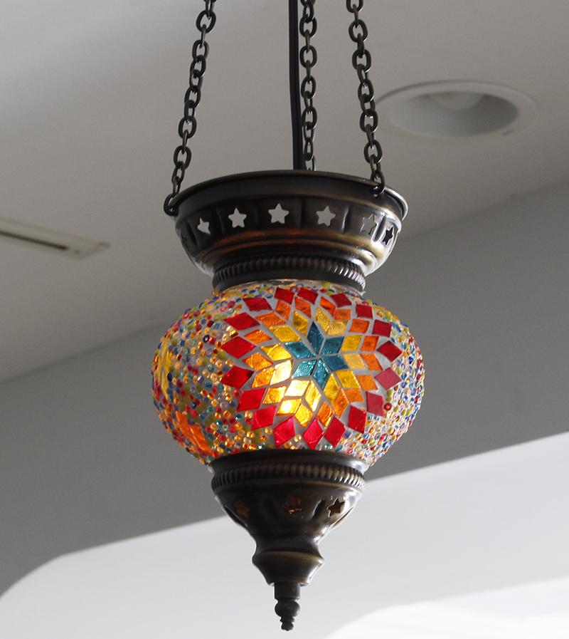 トルコガラスランプ・モザイクランプパンプキンSS・レインボーフラワー