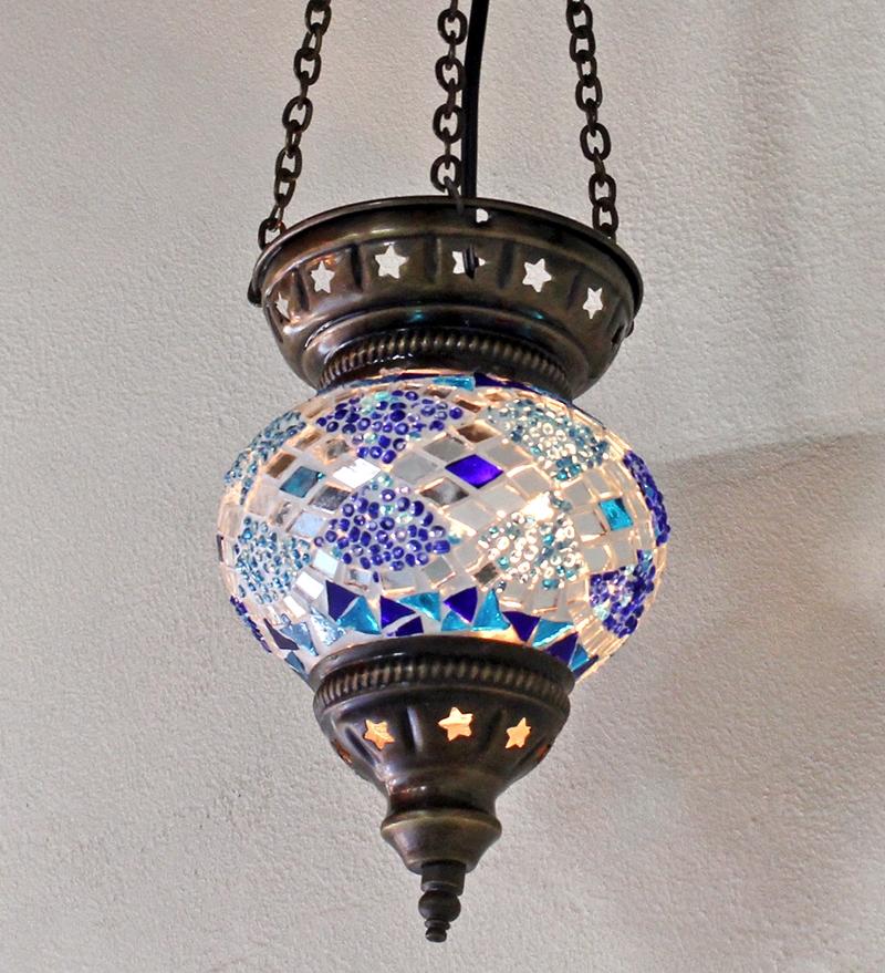 モザイクランプ ペンダントガラスランプパンプキンSS14cm・ブルー・フラワー【難あり・OUTLET・灯具別売り・送料無料】