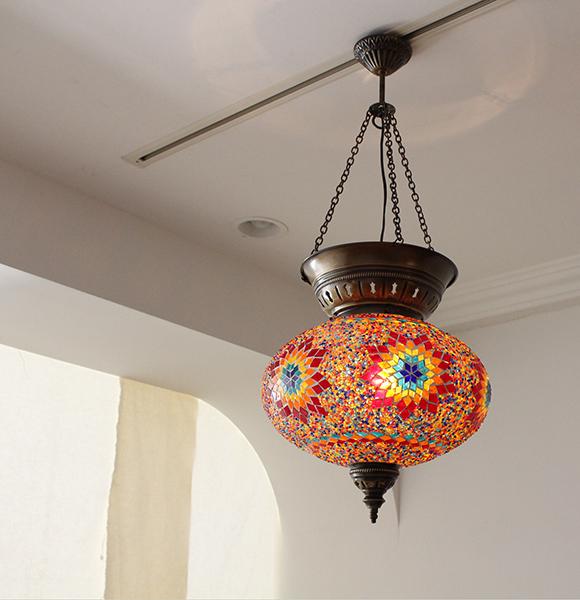 モザイクランプ・トルコランプ/ガラスペンダントライト 直径31cmオリエンタルムードたっぷりのエスニック照明/店舗照明・BOHO Turkish Mozaic Glass Pendant Lamp