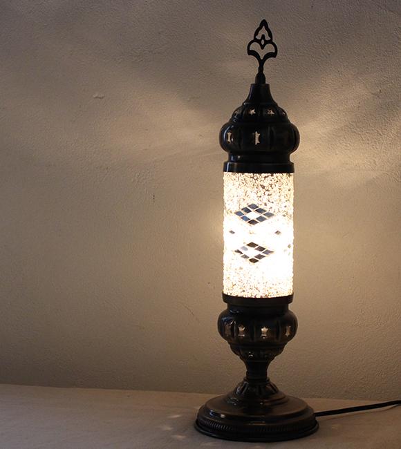 グランドセール オリエンタルムードのトルコモザイクガラススタンドランプ・シリンダーホワイト 全長46.5cm/ 全長46.5cm/ E17・25W<日本仕様のコードに変更済み>店舗照明・エスニック・BOHO・輸入照明, 栗駒町:f4cb4724 --- totem-info.com