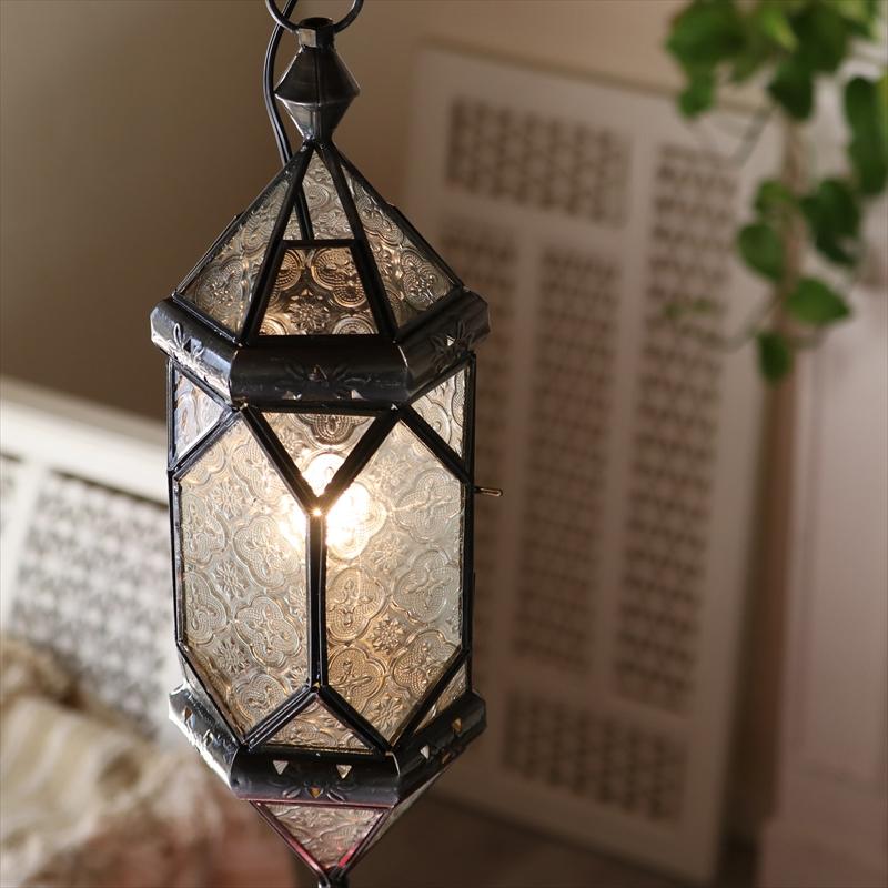 モロッコランプ・ガラスペンダントライト 多面体形ランプ6面のレリーフガラス Morocco Lantern/ 25W1灯 ペンダントランプ1灯