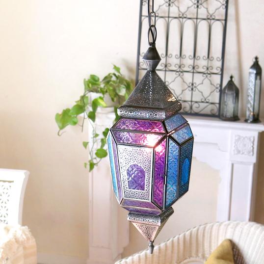 モロッコランプ・ガラスペンダントライト ヴァイオレット4面のレリーフガラス Morocco Lantern E17 25W 白熱球付き