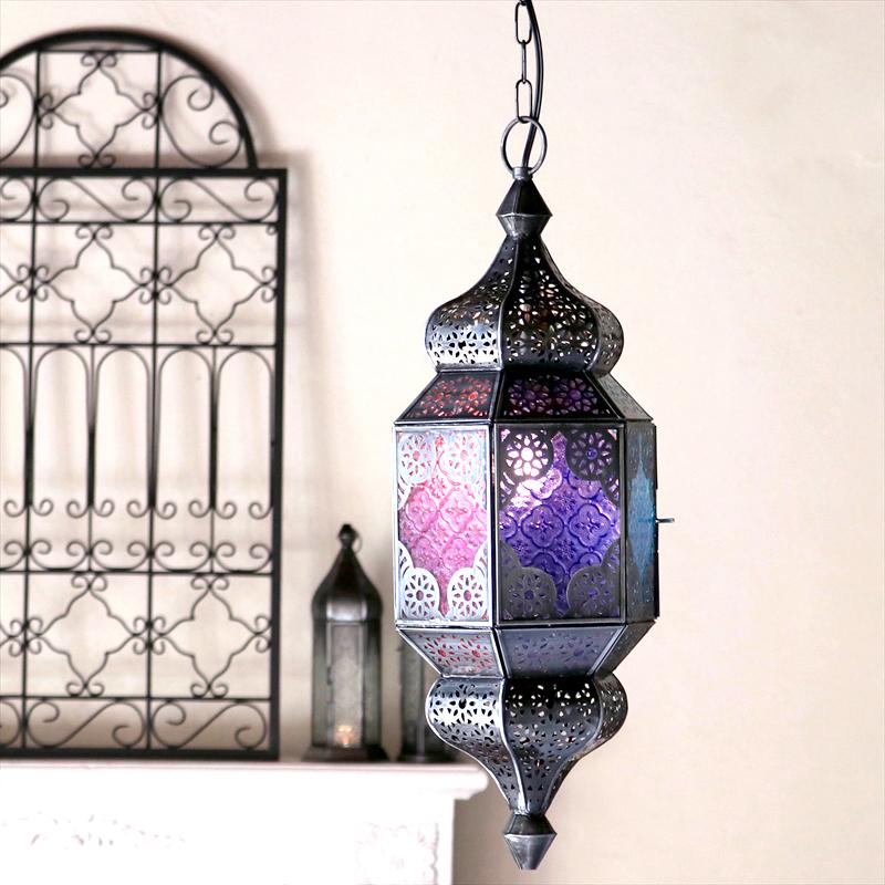 モロッコランプ・ガラスペンダントライト アラビア風 ヴァイオレット6面のレリーフガラス Morocco Lantern E17 25W 白熱球付き