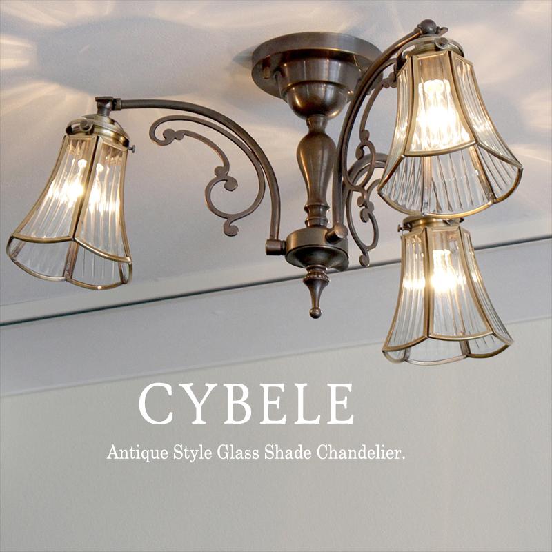 シーリングシャンデリア・アンティーク調ガラスシェード・ブロンズ・キベレ・3灯・60W白熱電球付き