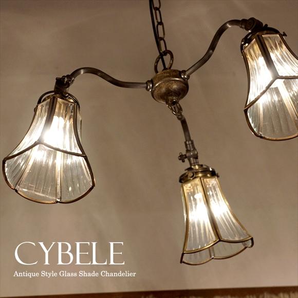 アンティーク調 ガラスシェード・シャンデリア・キベレ 3灯・アンティークブロンズ色60Wx3灯/E17電球3灯付属 LED電球対応