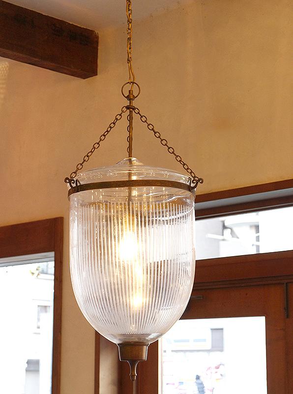 コロニアルスタイルガラスランプ フロストストライプ(Frosted Stripe)・直径36cm 大型店舗照明ペンダントライト1灯/ガラスシェード・British colonial Bell jar lanterns, Hindi Lamp
