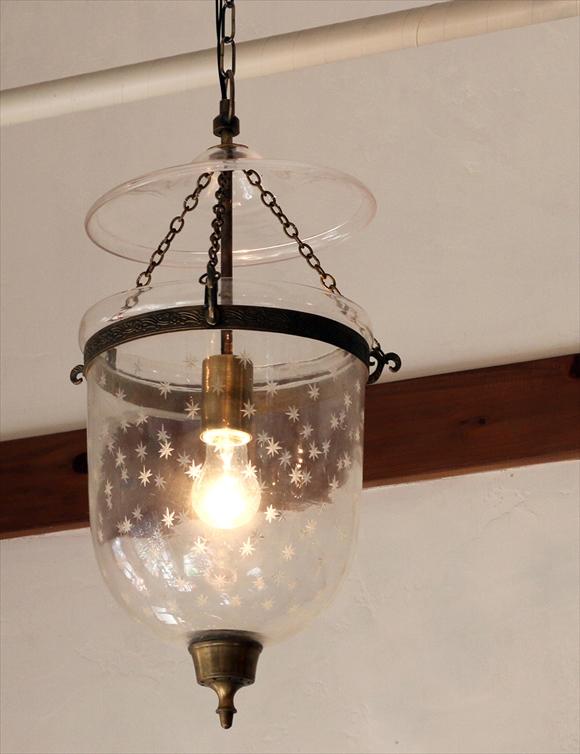 コロニアルスタイルガラスランプ STARS(スター)・ペンダントライト・ペンダントランプ1灯/ガラスシェード・British colonial Bell jar lanterns, Hindi Lamp