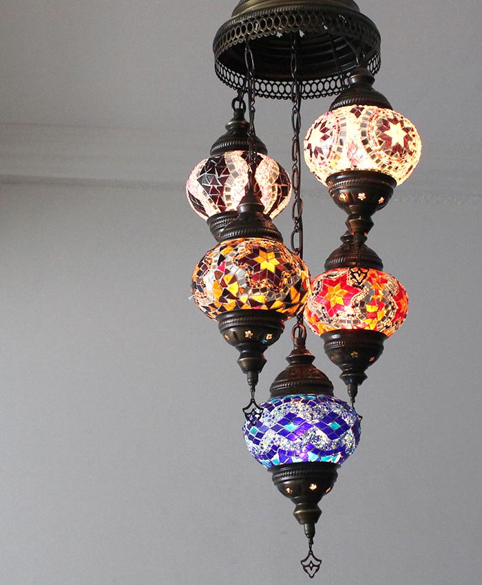 トルコランプ/モザイクガラスランプシャンデリア5灯段違いカラフル/E17・15W×5灯