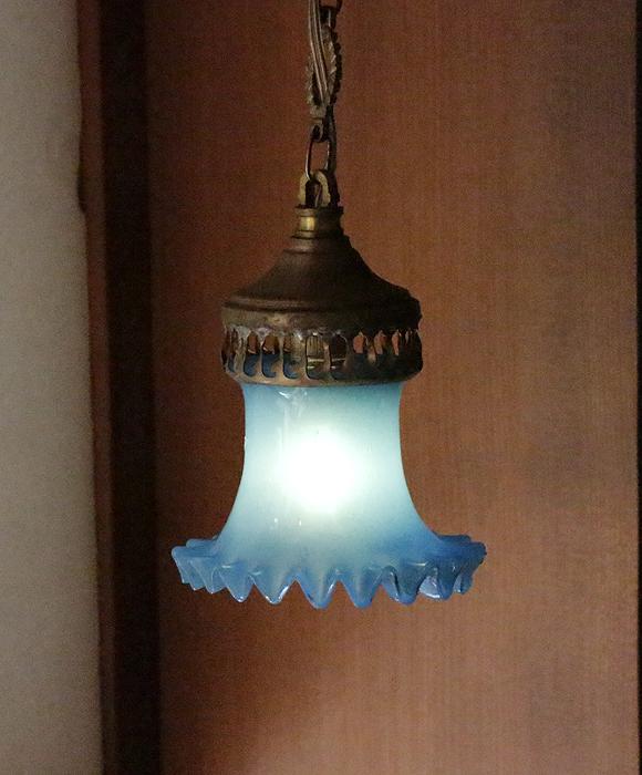 アンティークガラスのトルコランプ・オパリンガラス/引っ掛けシーリング用パーツ別売り