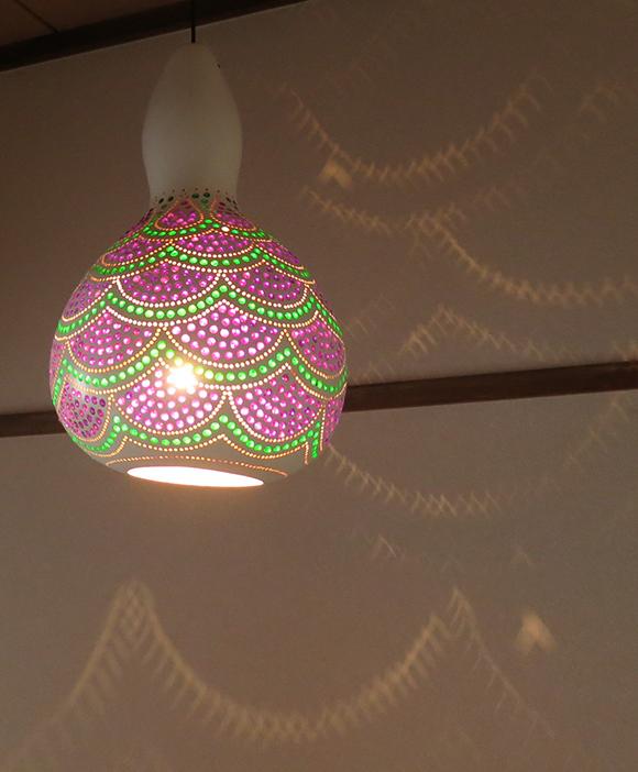 Turkish Gourd lamp, ひょうたんランプ/天井照明 エスニック照明・ホワイトペイント トルコ/ボドルム産 手作り 一点もの/E17電球25W付属 /店舗照明・エスニック・BOHO・輸入照明