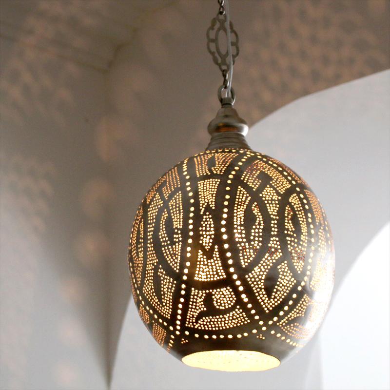 Φ27cm/ ドット シルバー色/ ペンダントライト Lamps, Handmade Football メタルシェード・ペンダントランプ/ Egyptian Metal shade