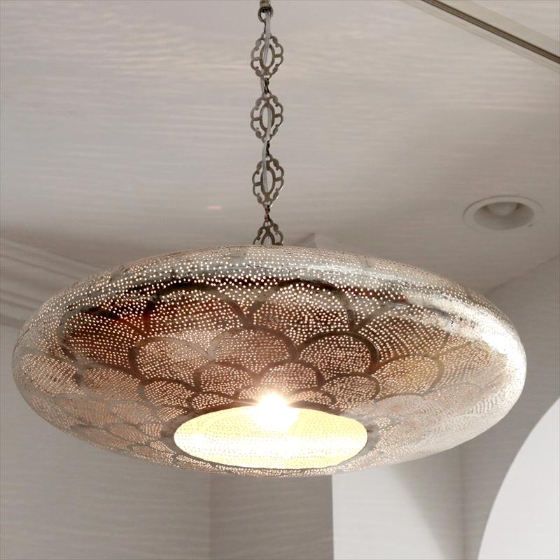 メタルシェード・ペンダントランプ/Egyptian Metal shade Lamps, Handmade ペンダントライト Φ57cm/UFO シルバー色/ロータス