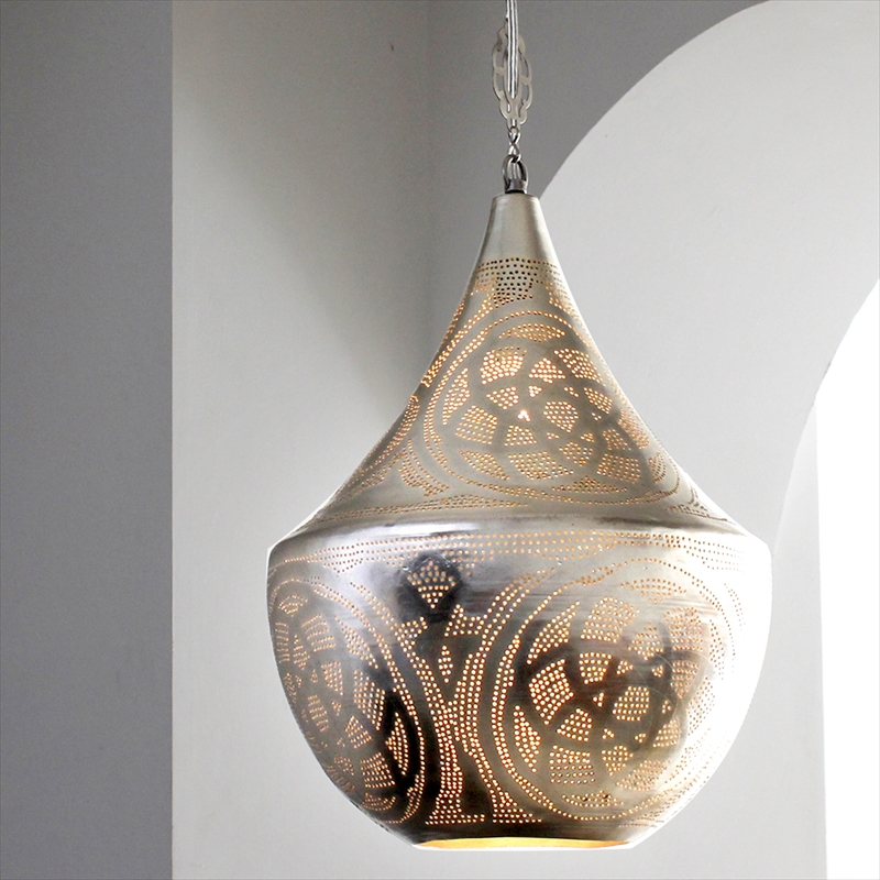 メタルシェード・ペンダントランプ Φ32cm/Tajine モロッコランプ/Moroccan Metal shade Lampsタジン32/ロータス 白熱電球付き