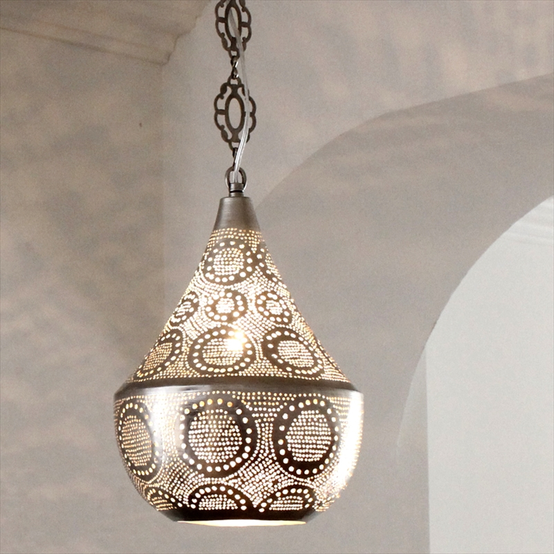 メタルシェード・モロッコランプΦ20cm/Tajine Moroccan Metal shade Lamps ペンダントランプタジン20/サークル 白熱電球付き