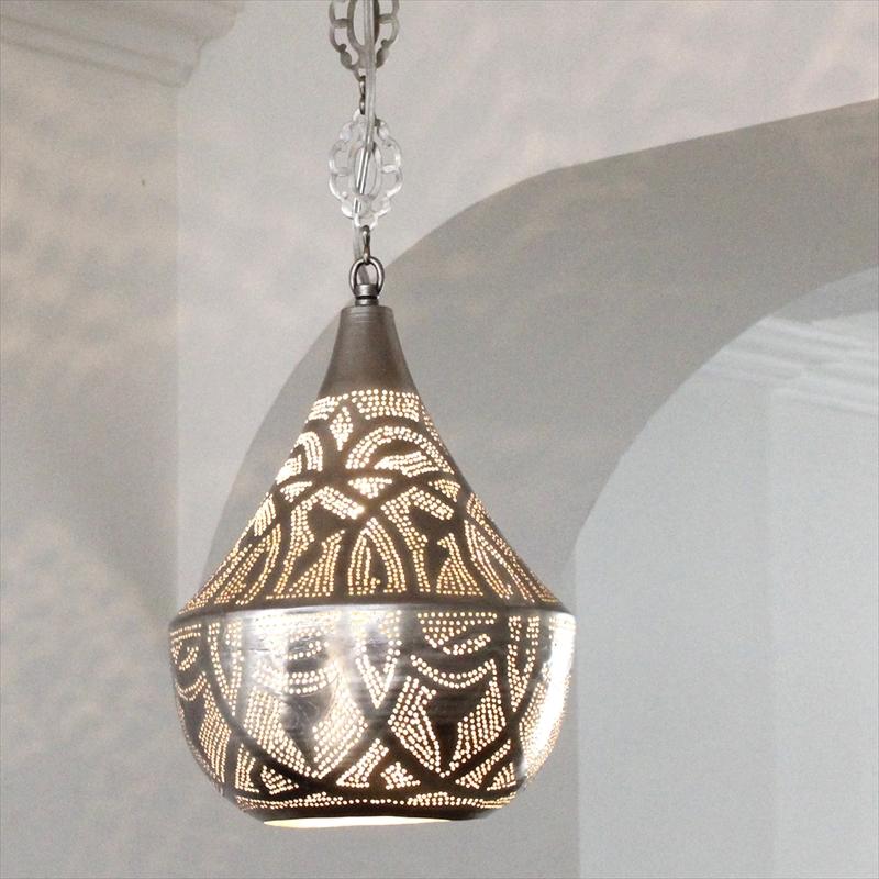 メタルシェード・モロッコランプΦ20cm/Tajine Moroccan Metal shade Lamps ペンダントランプタジン20/ロータス 白熱電球付き