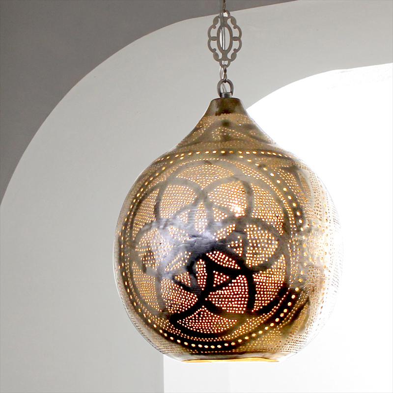 メタルシェード・ペンダントランプ Φ27cm/Soan モロッコランプ/Moroccan Metal shade Lampsソアン /ロータス 白熱電球付き