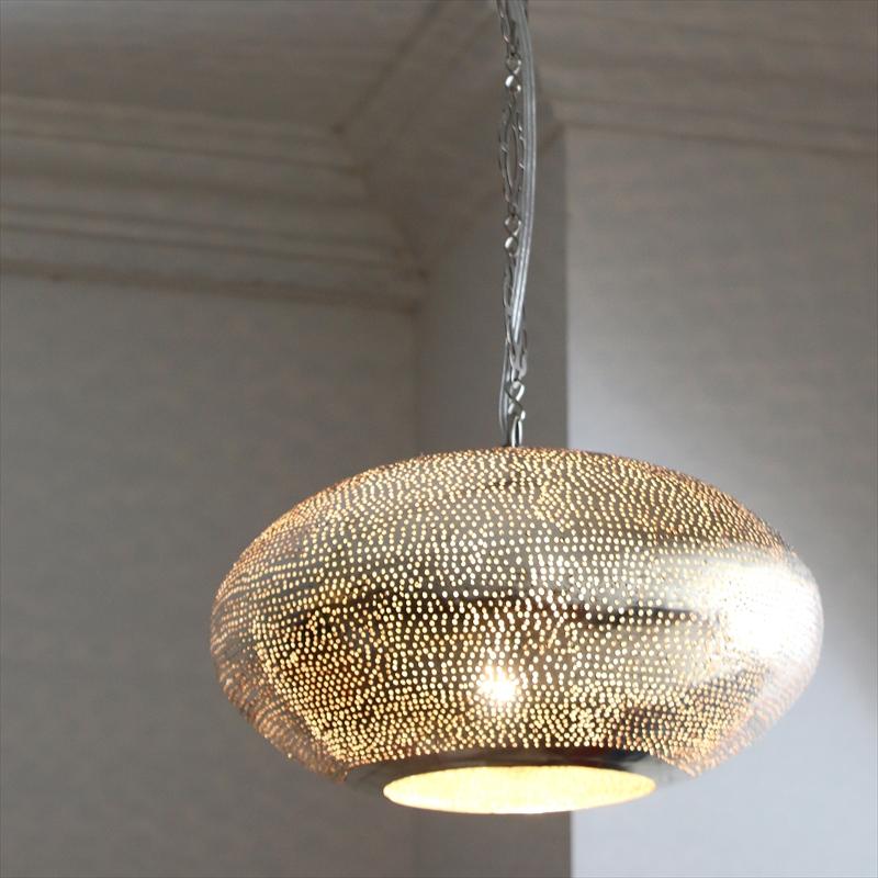 モロッコランプ Φ30cm/UFO メタルシェード・ペンダントランプ Moroccan Metal shade Lamps 30cmUFO /ドット 白熱電球付き