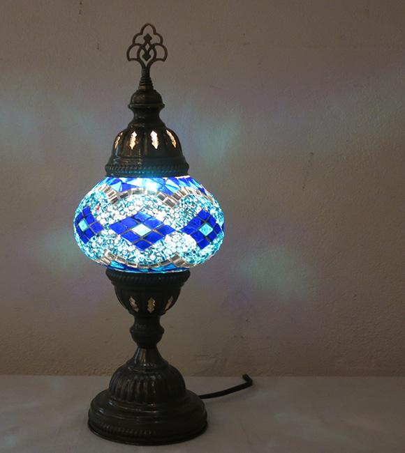 モザイクランプ テーブルスタンドランプ13cm・ブルーダイヤ店舗照明・エスニック/ E17・15W<日本仕様のコードに変更済み>・BOHO・輸入照明