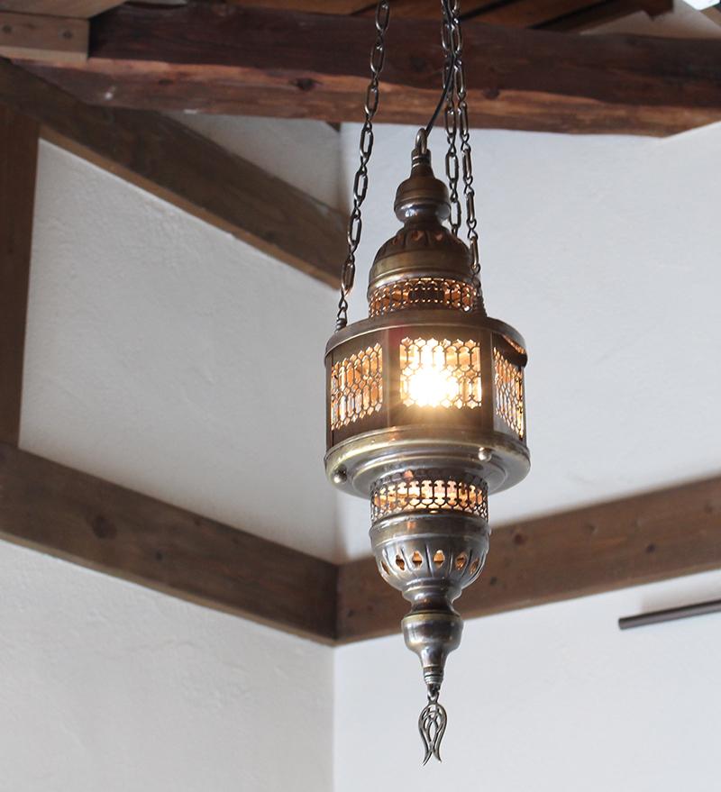 トルコランプ・吊り型オットマンランプ/エスニック照明/店舗照明/・パシャ・ヘキサゴナルガラスなしS灯具付き・白熱電球付属