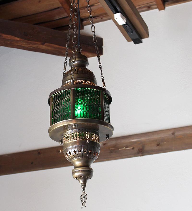 トルコガラスランプ/オットマンペンダントランプ・六角形・パシャ・ヘキサゴナル/エスニック照明グリーンM灯具付き・白熱電球付属
