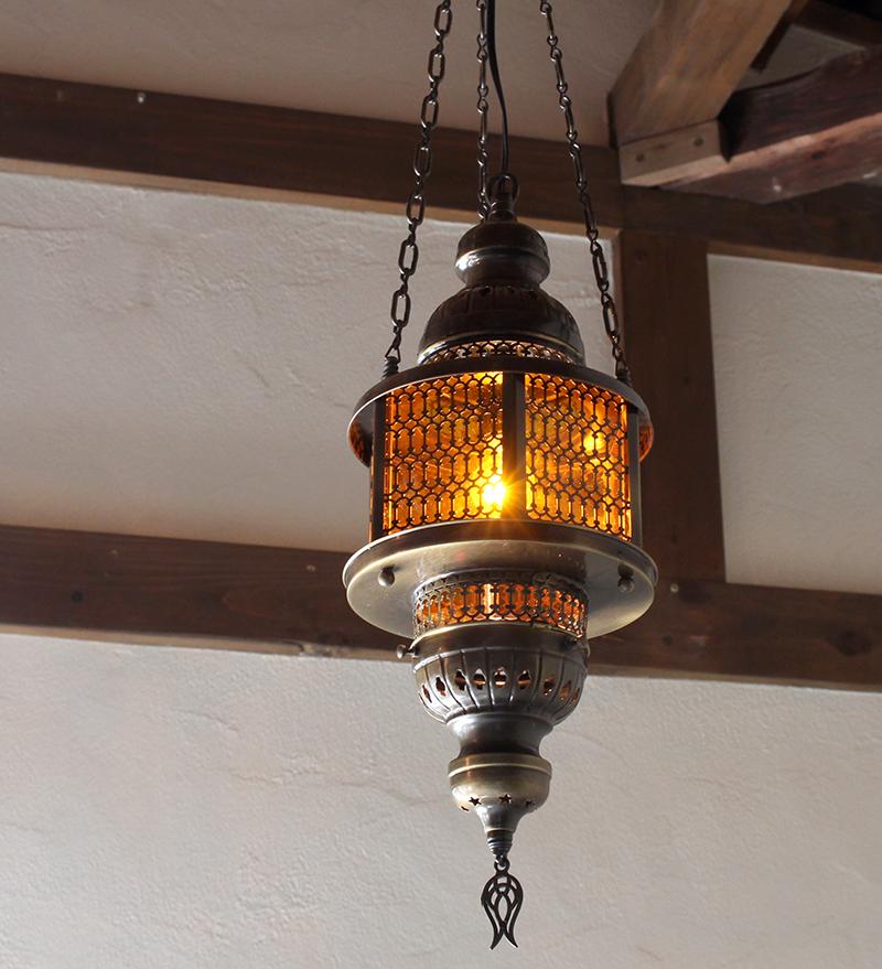 トルコガラスランプ/ペンダントランプ・六角形・パシャ・ヘキサゴナル/オレンジM灯具付き・白熱電球付属