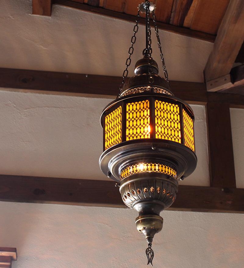 トルコガラスランプ・吊り型オットマンランプ/八角形/パシャ・オクタゴナルオレンジL灯具付き・白熱電球付属