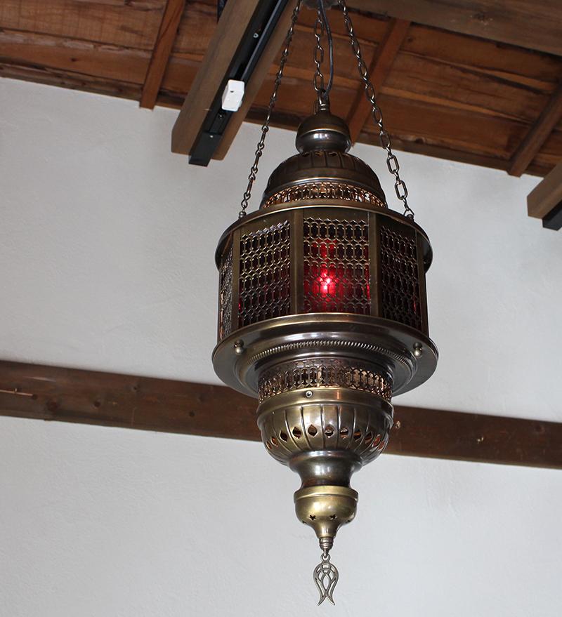 トルコランプ・オットマンガラスランプ・ペンダントランプ/八角形/パシャ・オクタゴナルパープルL灯具付き・白熱電球付属
