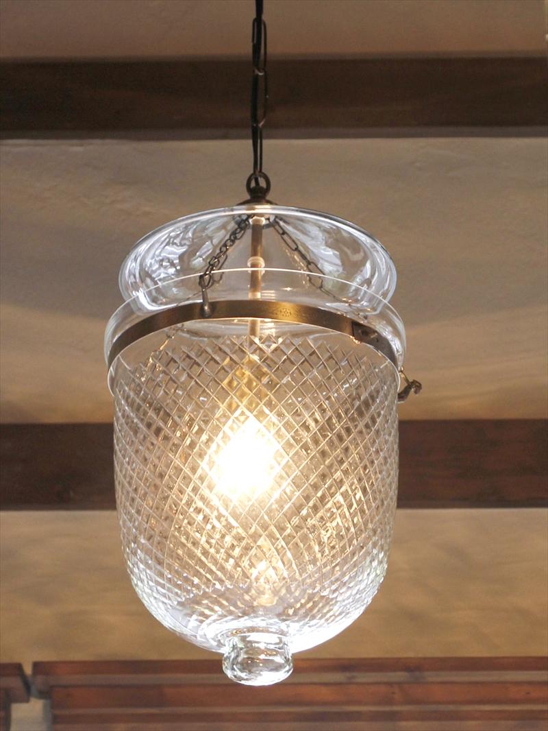 ガラスペンダントランプ/ベルジャーランタン・コロニアルスタイルラティス  British colonial Bell jar lanterns, Hindi Lamp E17/25W ミニクリプトン球付属