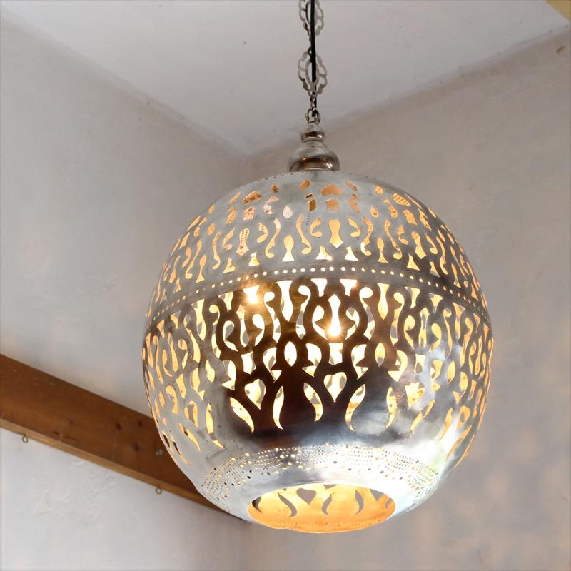モロッコランプ/Moroccan Metal shade Lamps メタルシェード・ペンダントランプ エジプト製 Φ35cm/Football シルバー色/アラベスク 白熱電球E26 40W 3個付き