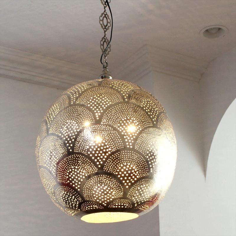 モロッコランプ/Moroccan Metal shade Lamps メタルシェード・ペンダントランプ エジプト製 Φ38cm/Football シルバー色/レインボー 白熱電球E26 40W 3個付き