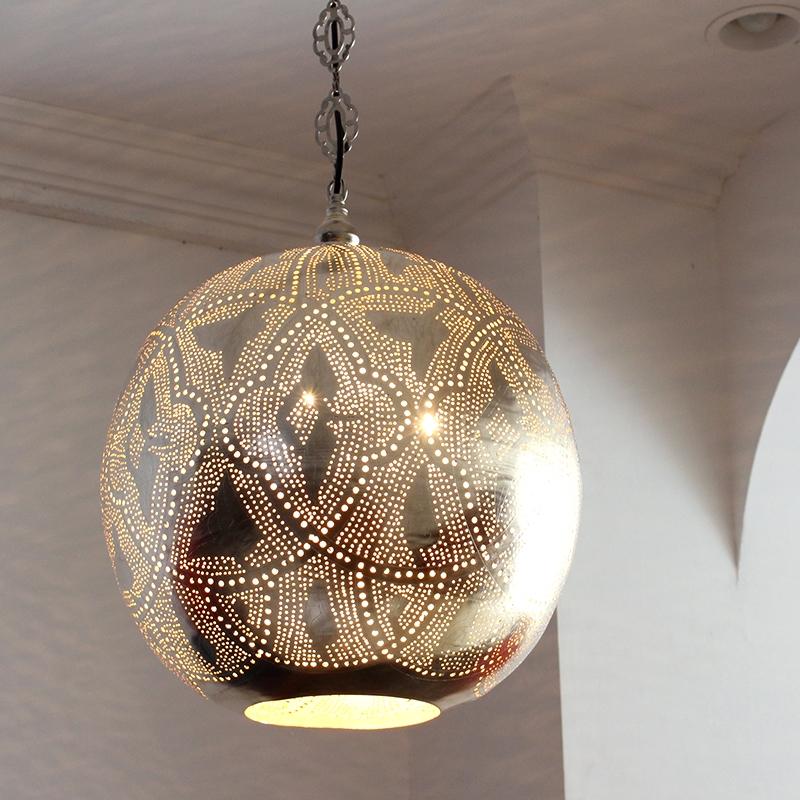 モロッコランプ/Moroccan Metal shade Lamps メタルシェード・ペンダントランプ エジプト製 Φ38cm/Football シルバー色/ロータス 白熱電球E26 40W 3個付き