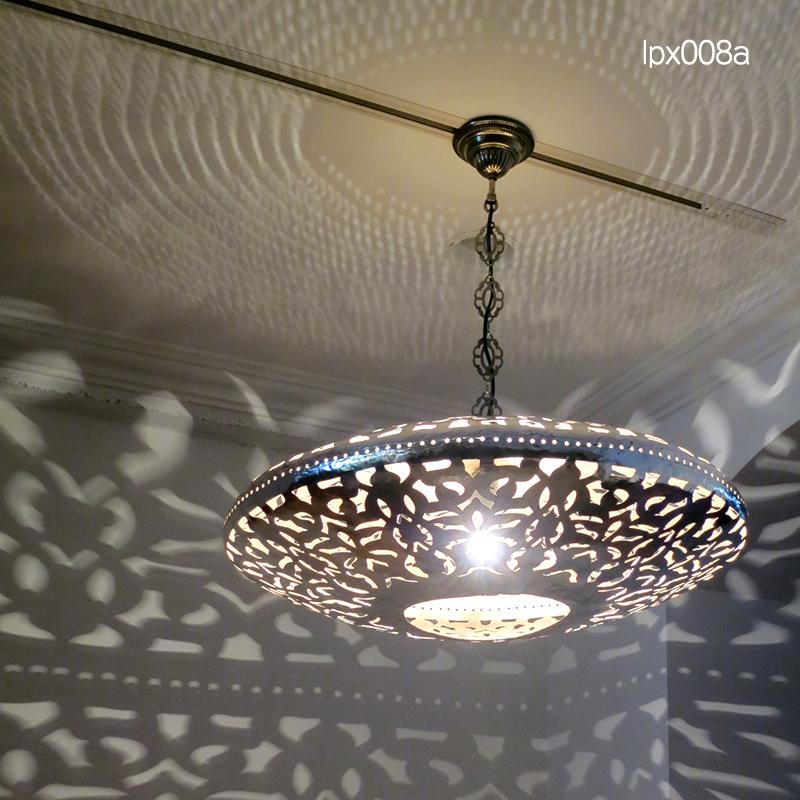 メタルシェード・ペンダントランプ/Egyptian Metal shade Lamps, Handmade ペンダントライト Φ66cm/UFO シルバー色/アラベスク店舗照明・エスニック・BOHO・輸入照明