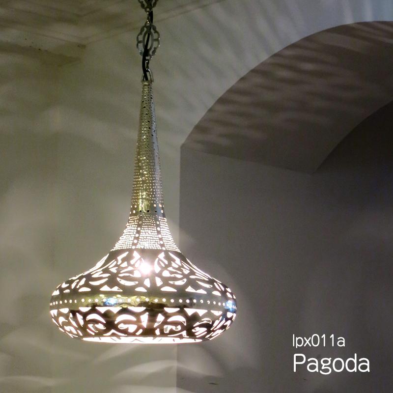 メタルシェード・ペンダントランプ/Egyptian Metal shade Lamps, Handmade ペンダントライト Φcm/Pagoda シルバー色/ドット・アラベスク店舗照明・エスニック・BOHO・輸入照明