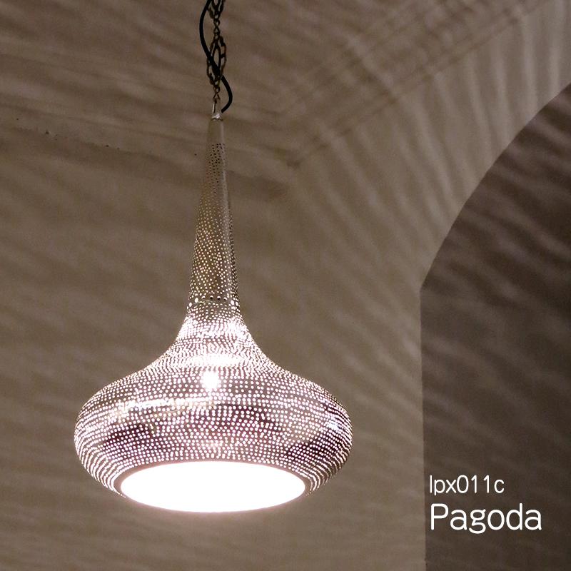 メタルシェード・ペンダントランプ/Egyptian Metal shade Lamps, Handmade ペンダントライト Φ30cm/Pagoda シルバー色/ドット店舗照明・エスニック・BOHO・輸入照明