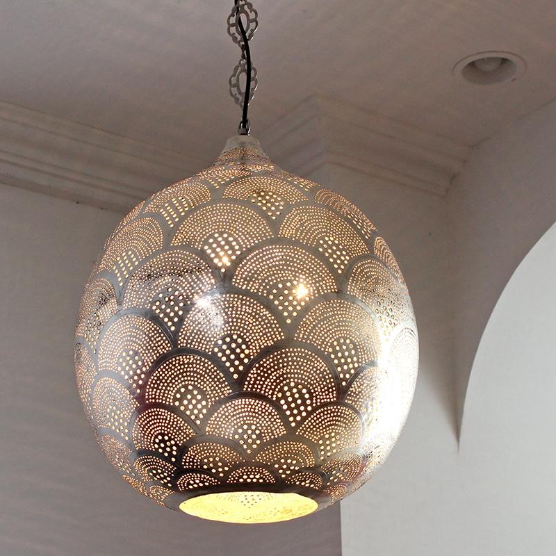 ペンダントランプ モロッコランプ/メタルシェード Φ40cm/Sogn Moroccan Metal shade Lamps メタルシェード・エジプト製 ソアン/レインボー 白熱電球付き