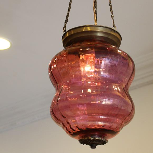 アンティークガラスのトルコランプ・ローズピンク