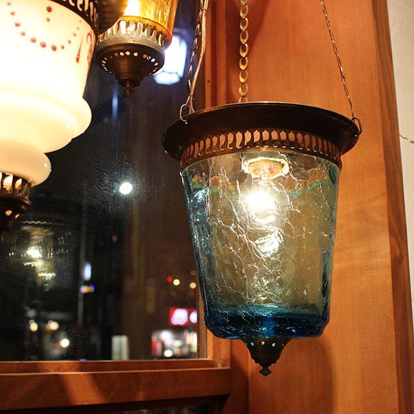 アンティークガラスのトルコランプ・クラック/トルコブルー