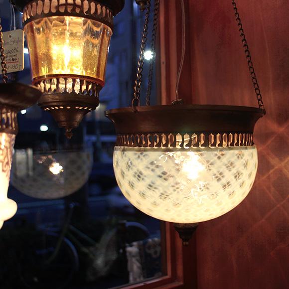 アンティークガラスのトルコランプ/ライムグリーン【灯具別売り】