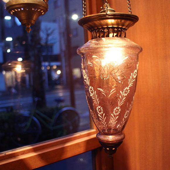 アンティークガラスのトルコランプ・パープル【灯具別売り】