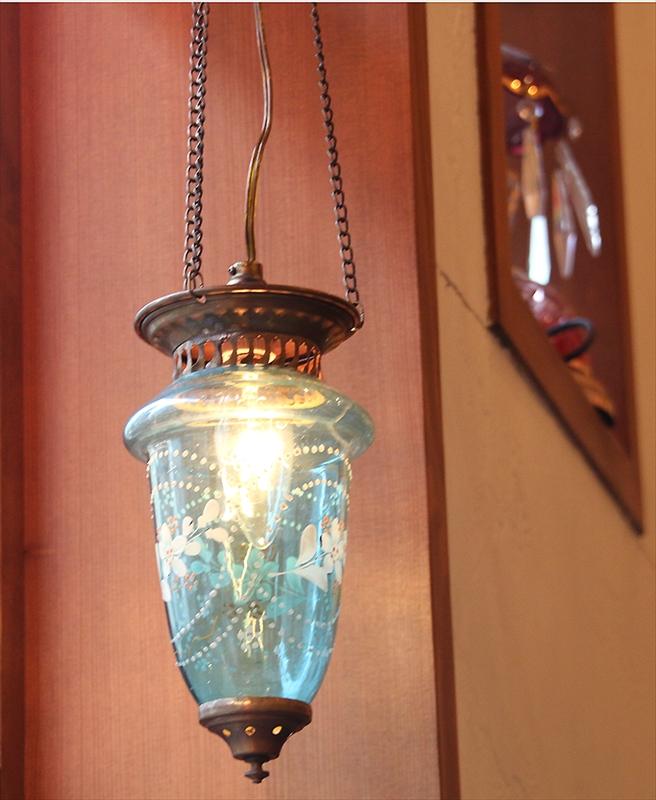 アンティークガラスのトルコランプ・ペールブルー【灯具別売り】