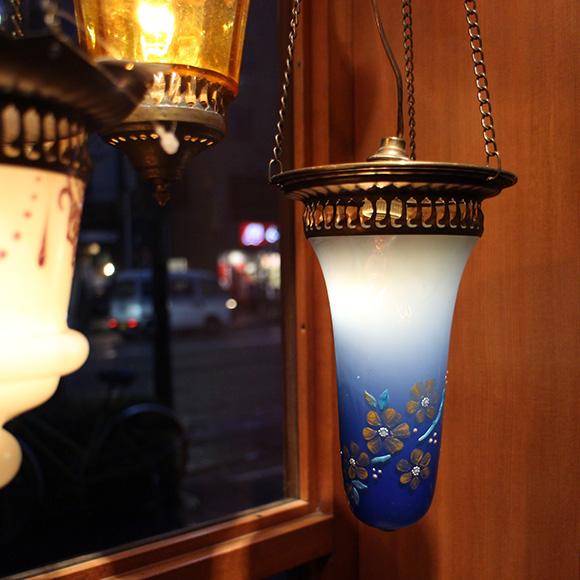 アンティークガラスのトルコランプ・コバルトブルー&ミルク【灯具別売り】