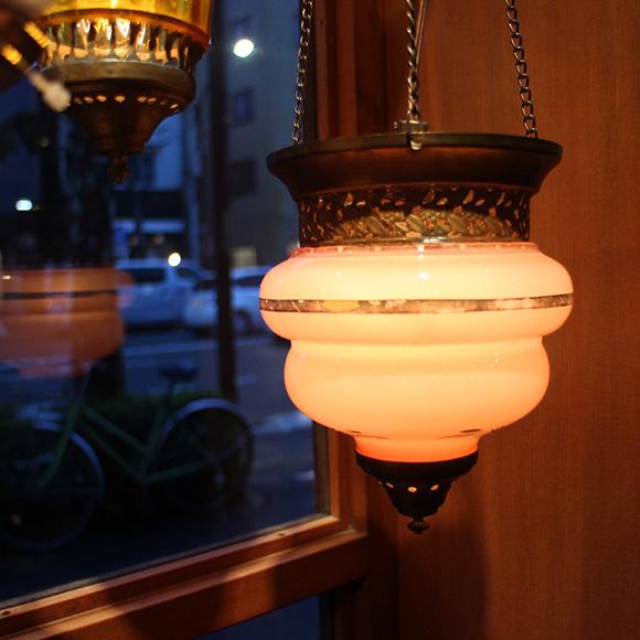 アンティークガラスのトルコランプ・ペールピンク【灯具別売り】