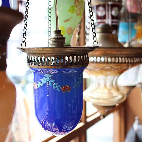 アンティークガラスのトルコランプ・フラワーペイント/ブルー【灯具別売り】